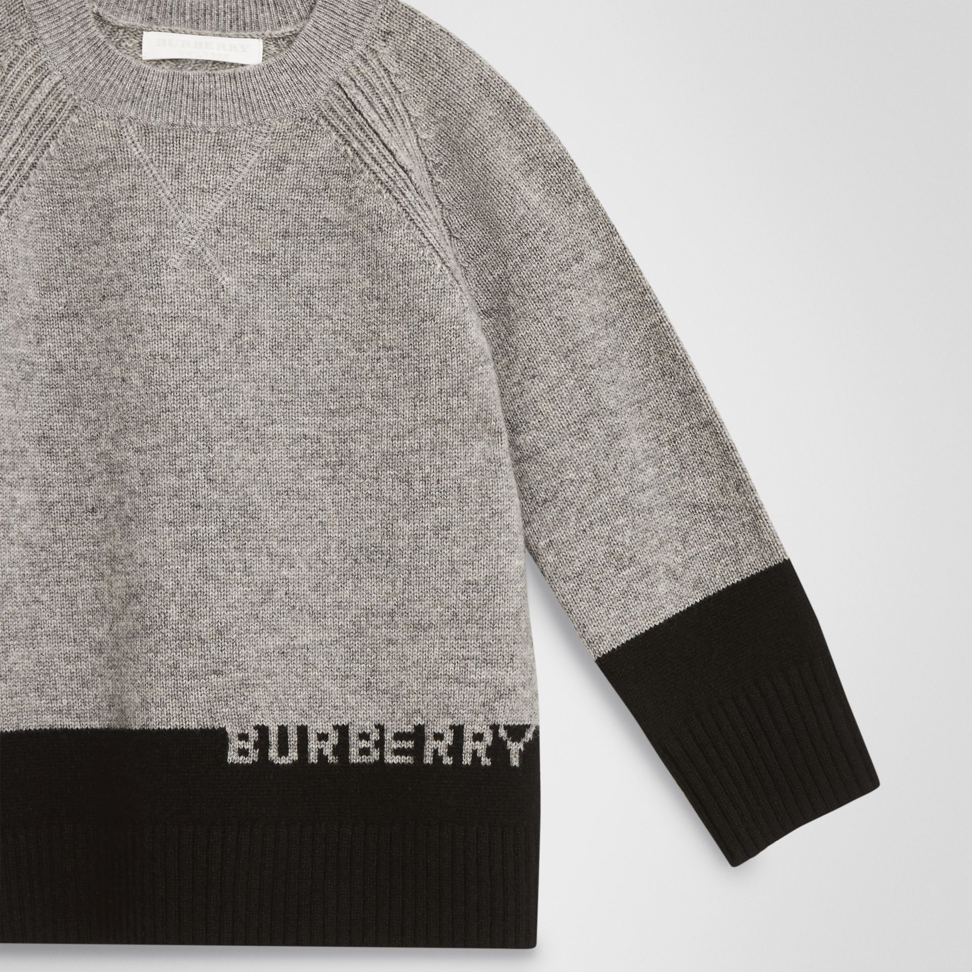Logo Intarsia Cashmere Sweater in Grey Melange | Burberry United States - gallery image 4