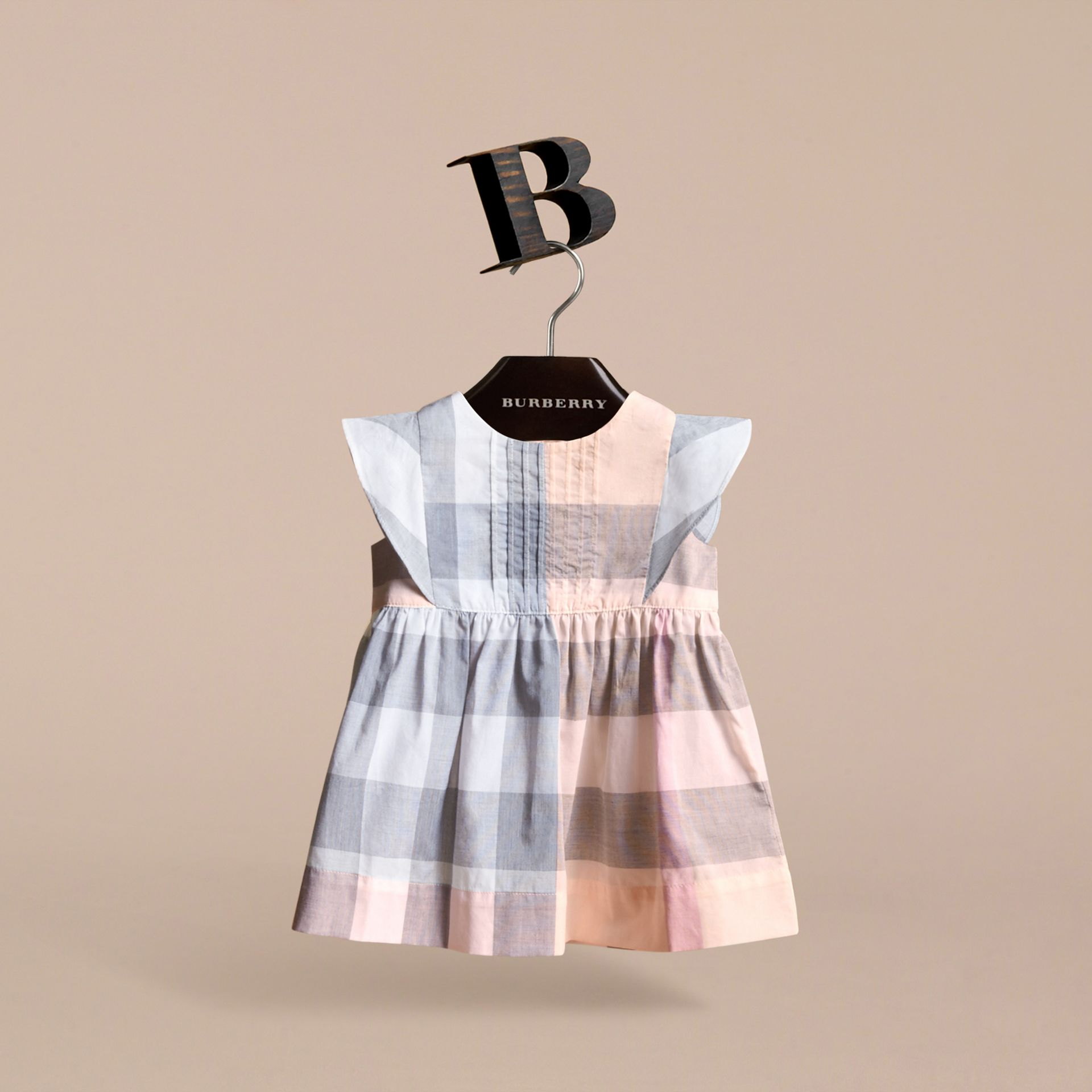 Ruffle Detail Check Cotton Dress in Apricot | Burberry - gallery image 3