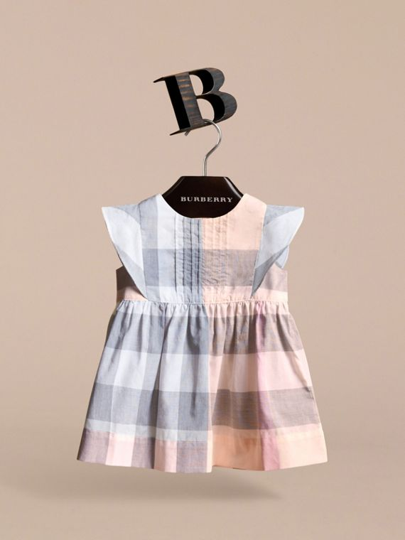 Ruffle Detail Check Cotton Dress in Apricot | Burberry - cell image 2