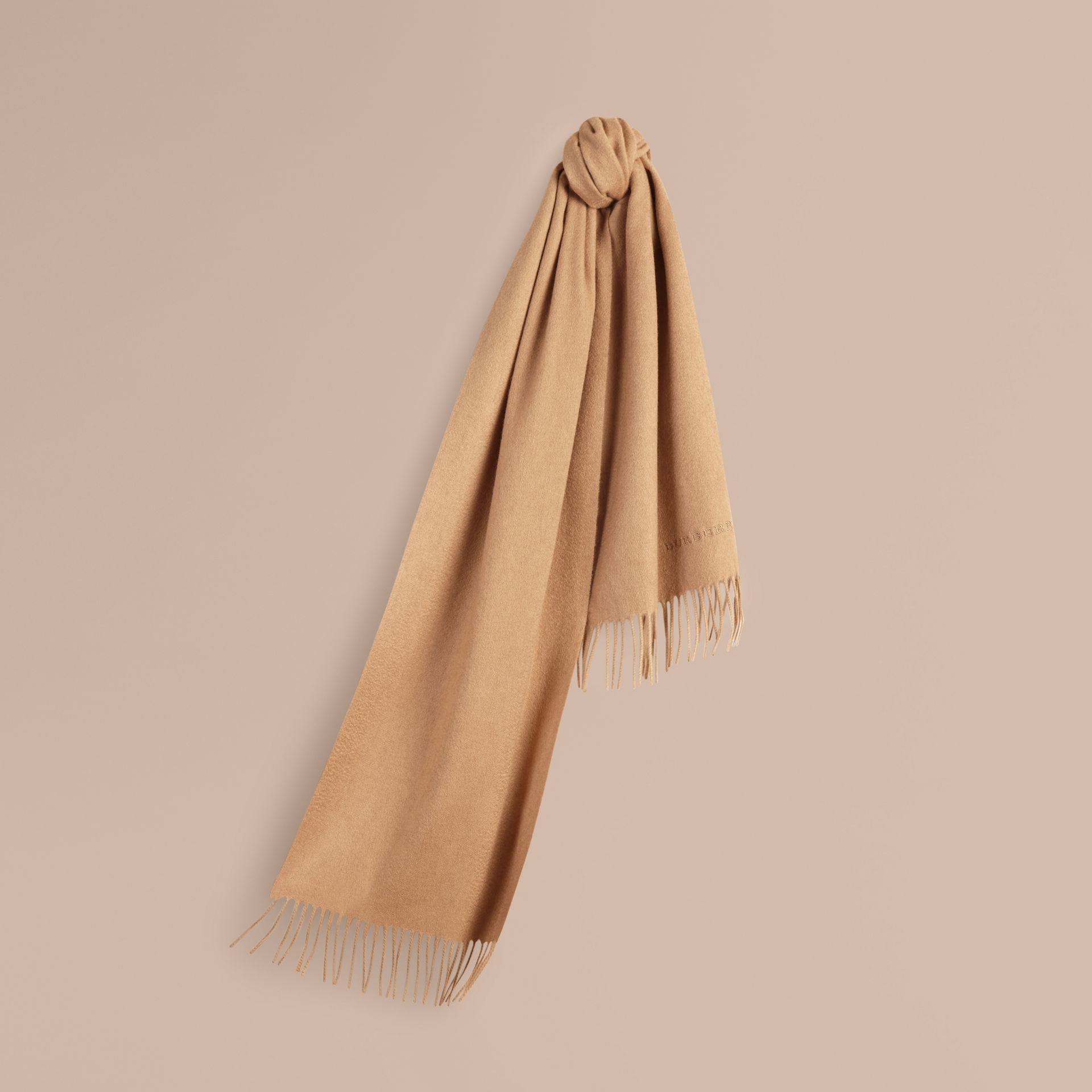 The Classic Cashmere Scarf in Camel | Burberry - gallery image 6