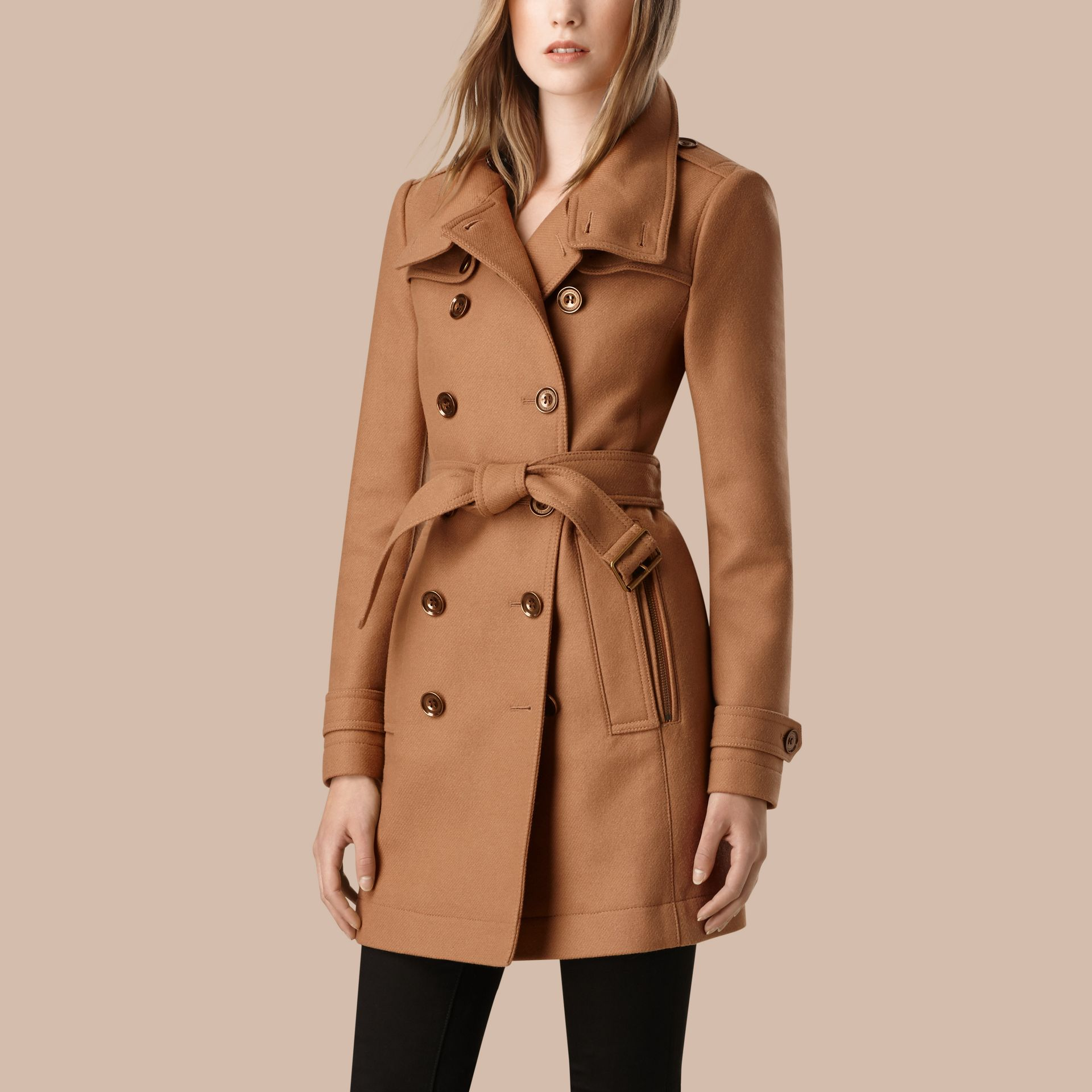 Camel Short Double Wool Twill Trench Coat Camel - gallery image 4