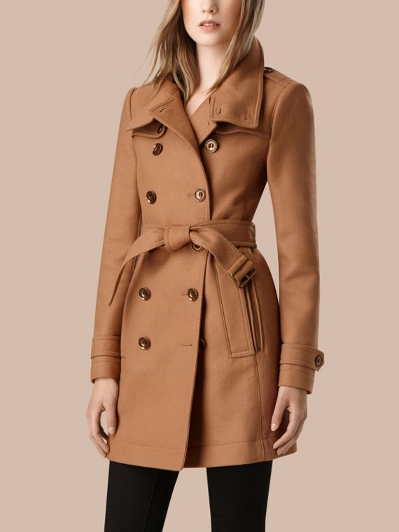 Camel Short Double Wool Twill Trench Coat Camel - cell image 3