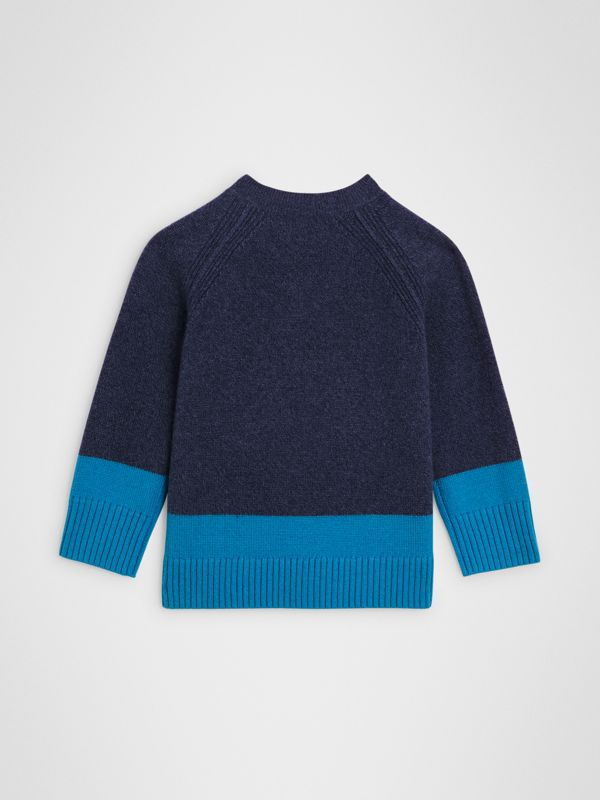Logo Intarsia Cashmere Sweater in Navy | Burberry - cell image 3