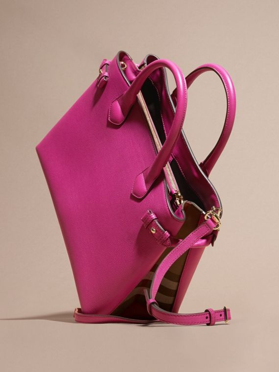 Fucsia brillante Bolso Banner mediano en piel y House Checks Fucsia Brillante - cell image 3