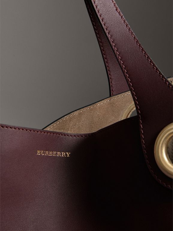 The Large Leather Grommet Detail Tote in Deep Claret | Burberry - cell image 1