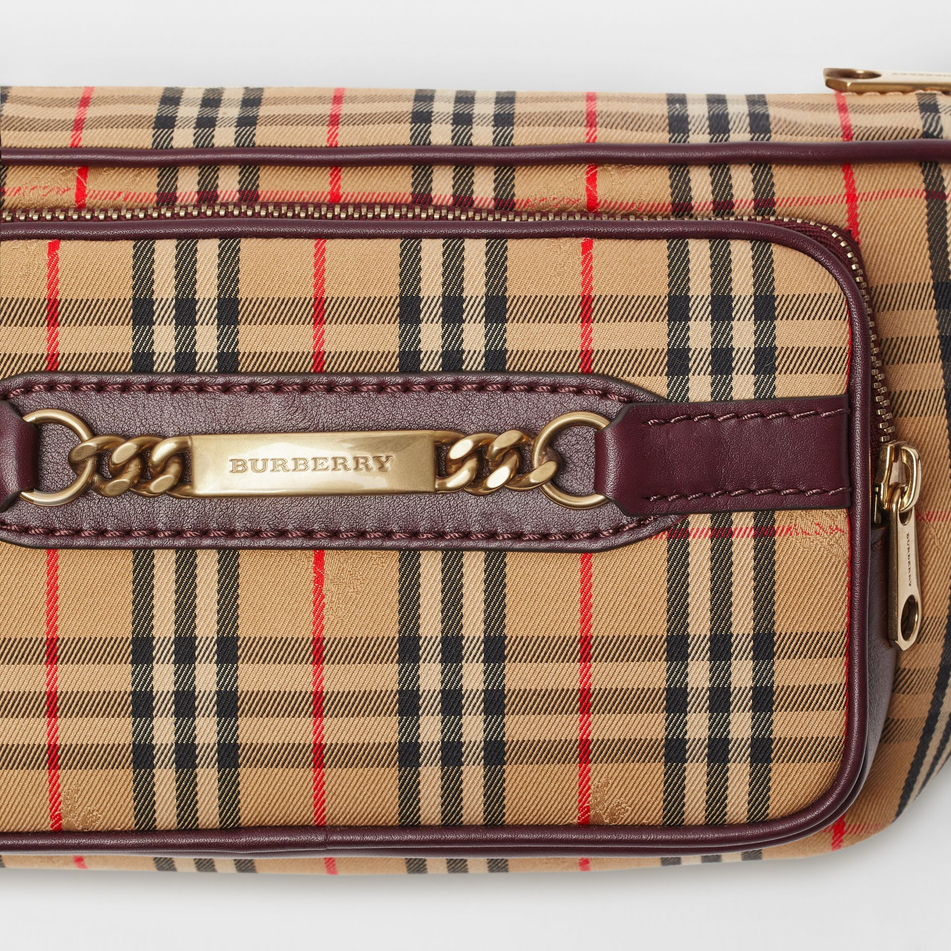 The Large 1983 Check Link Bum Bag in Oxblood - Men | Burberry Australia - gallery image 1