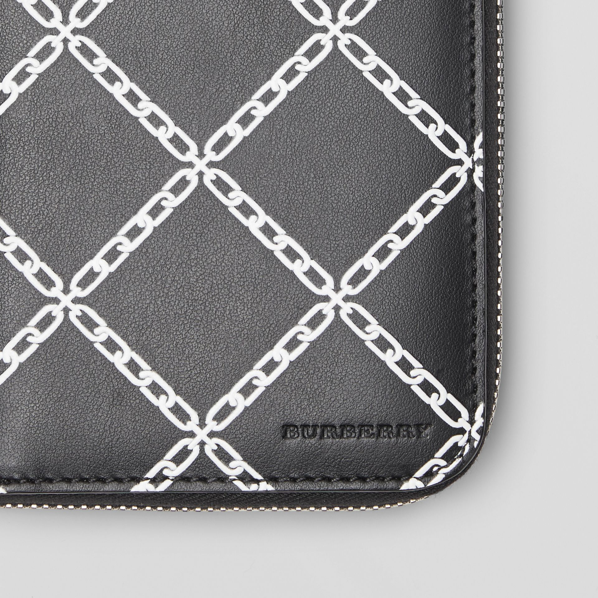 Link Print Leather Ziparound Wallet in Black/chain - Men | Burberry Canada - gallery image 1