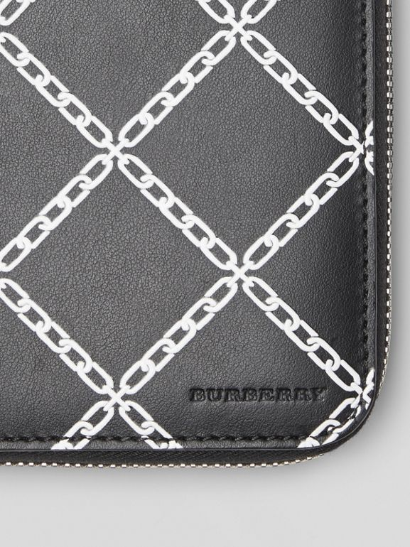 Link Print Leather Ziparound Wallet in Black/chain - Men | Burberry - cell image 1