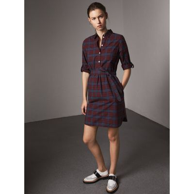 Burberry Check Cotton Tunic Dress Cheap Price Outlet Sale EJeh4