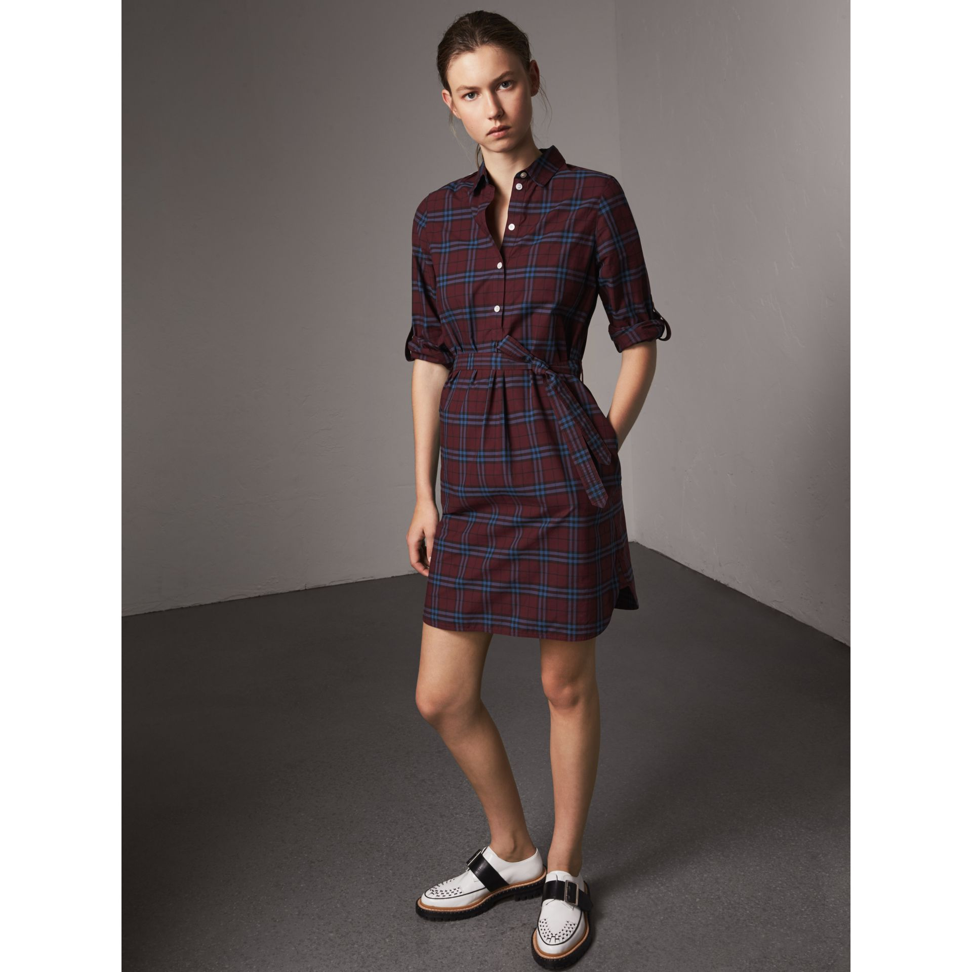 Check Cotton Tunic Dress in Crimson Red - Women | Burberry - gallery image 1