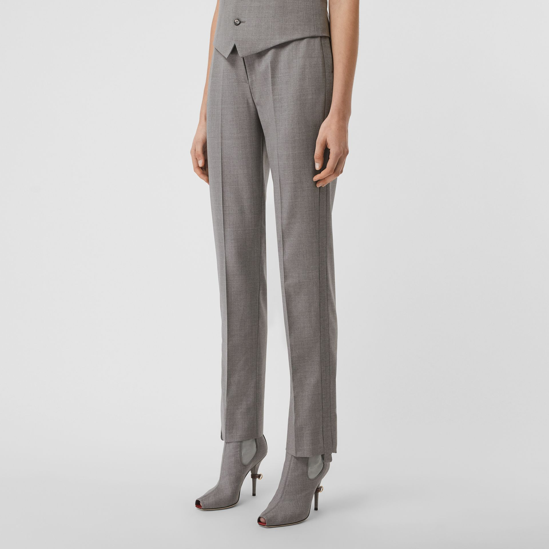 Stripe Detail Wool Trousers in Flint - Women | Burberry - gallery image 5