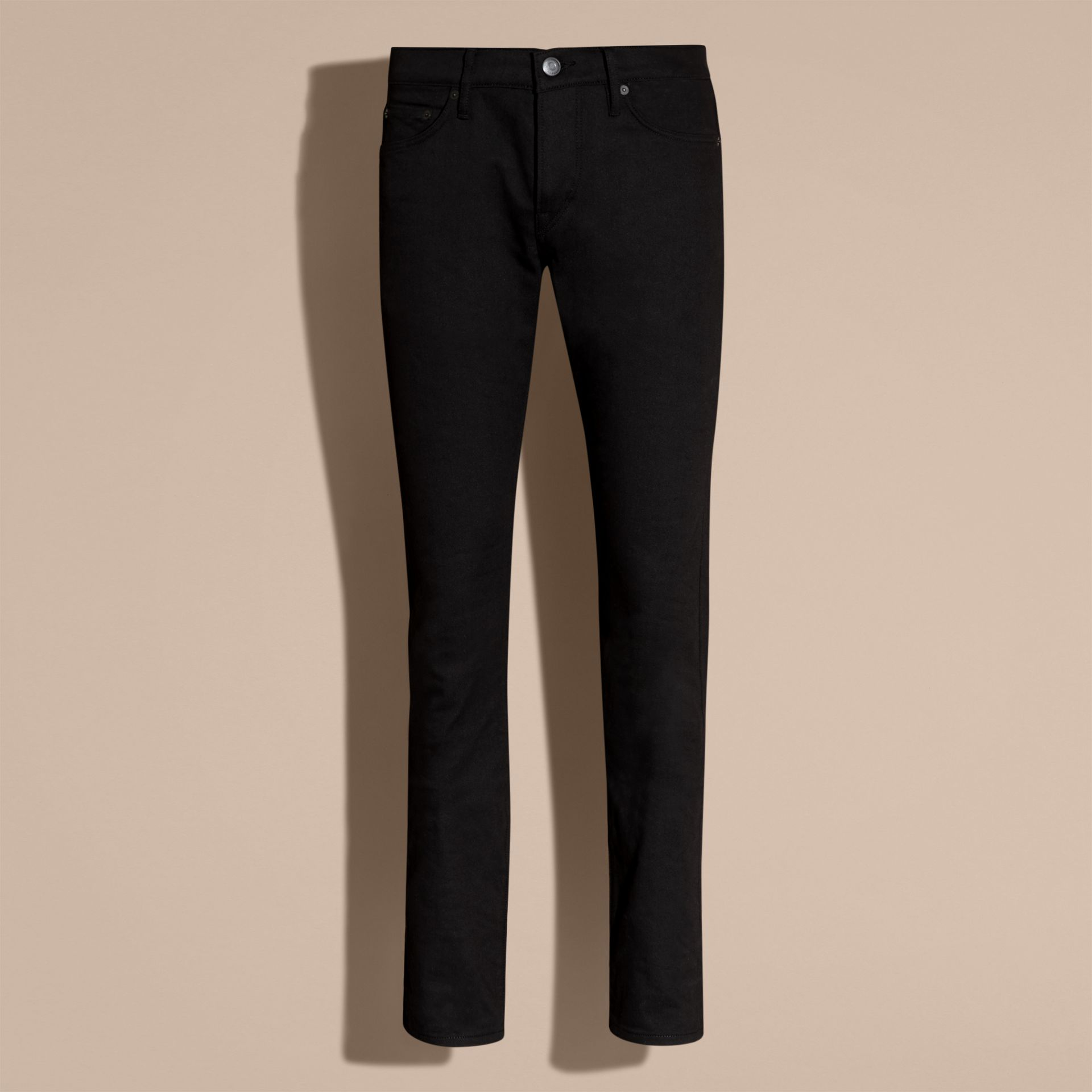 Straight Fit Unwashed Stretch Denim Jeans - Men | Burberry Canada - gallery image 4