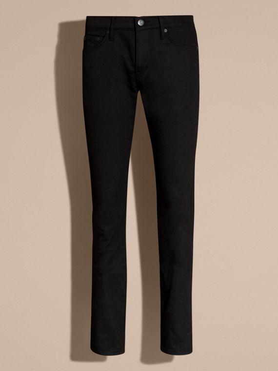 Black Straight Fit Unwashed Stretch Denim Jeans - cell image 3