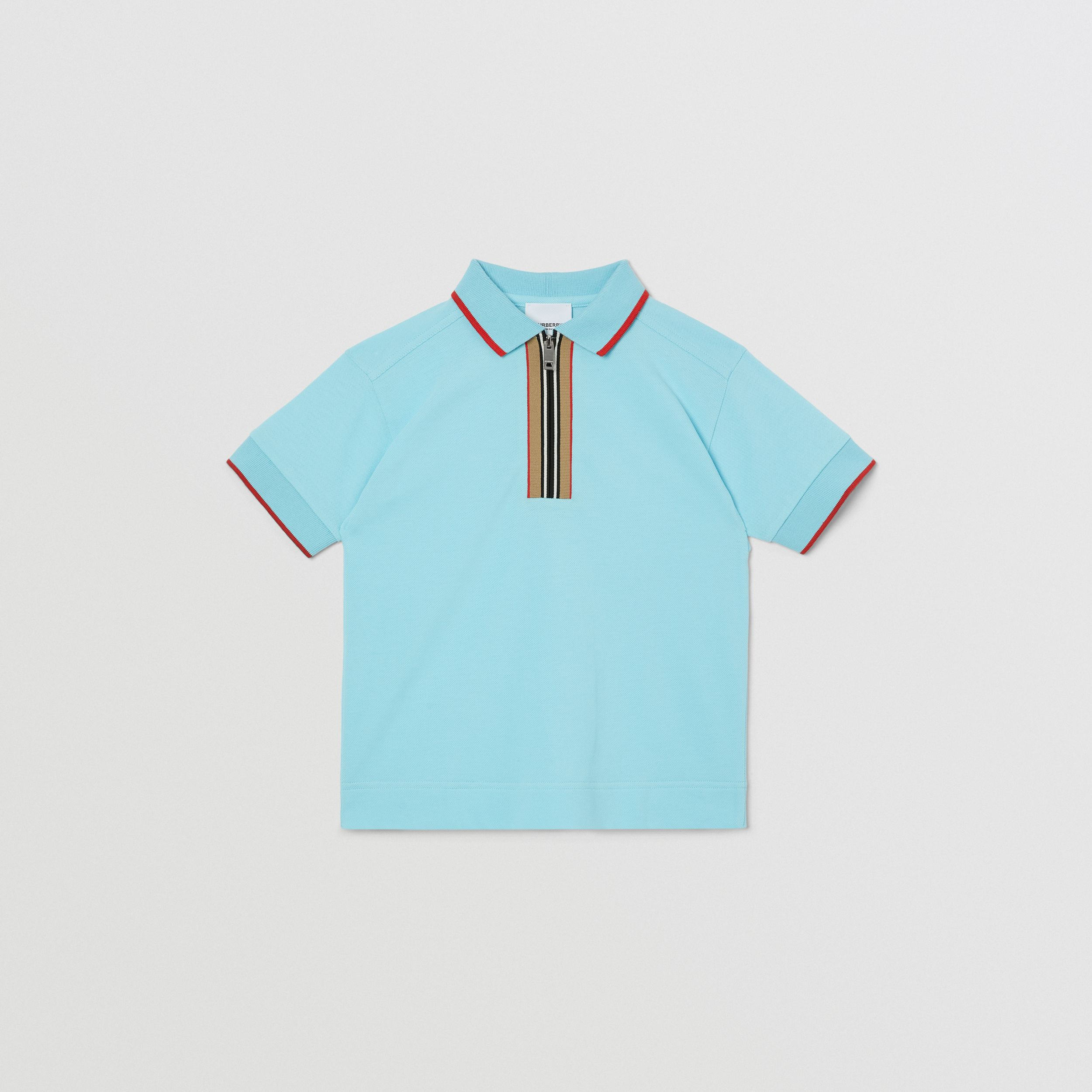 Icon Stripe Detail Cotton Zip-front Polo Shirt in Pale Turquoise | Burberry - 1