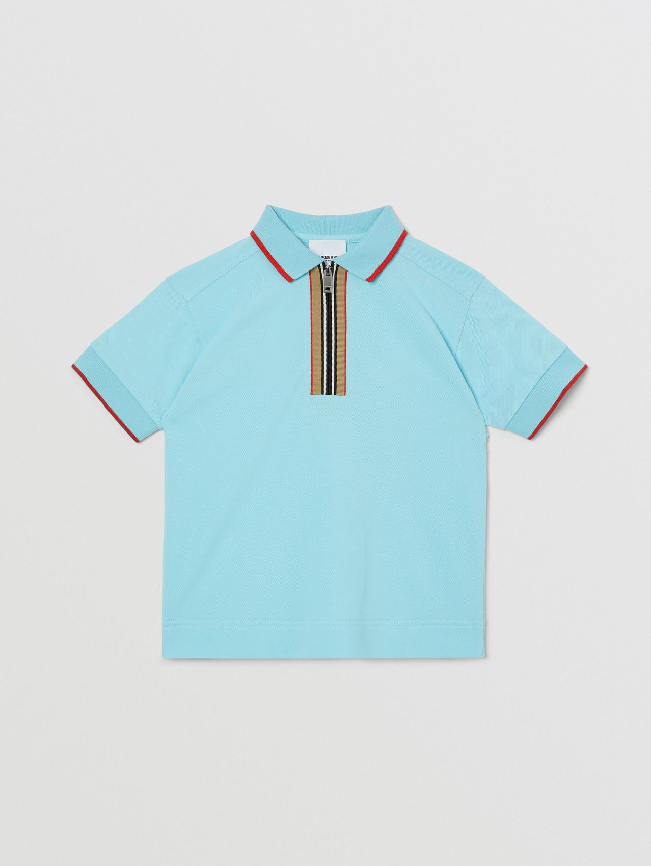 Icon Stripe Detail Cotton Zip-front Polo Shirt in Pale Turquoise