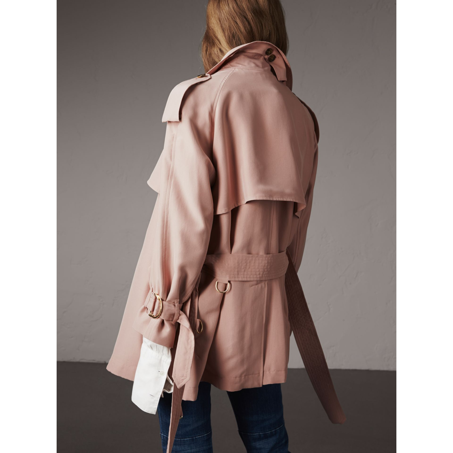 Silk Wrap Trench Coat in Ash Rose - gallery image 3
