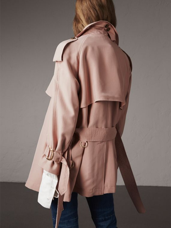 Silk Wrap Trench Coat in Ash Rose - cell image 2