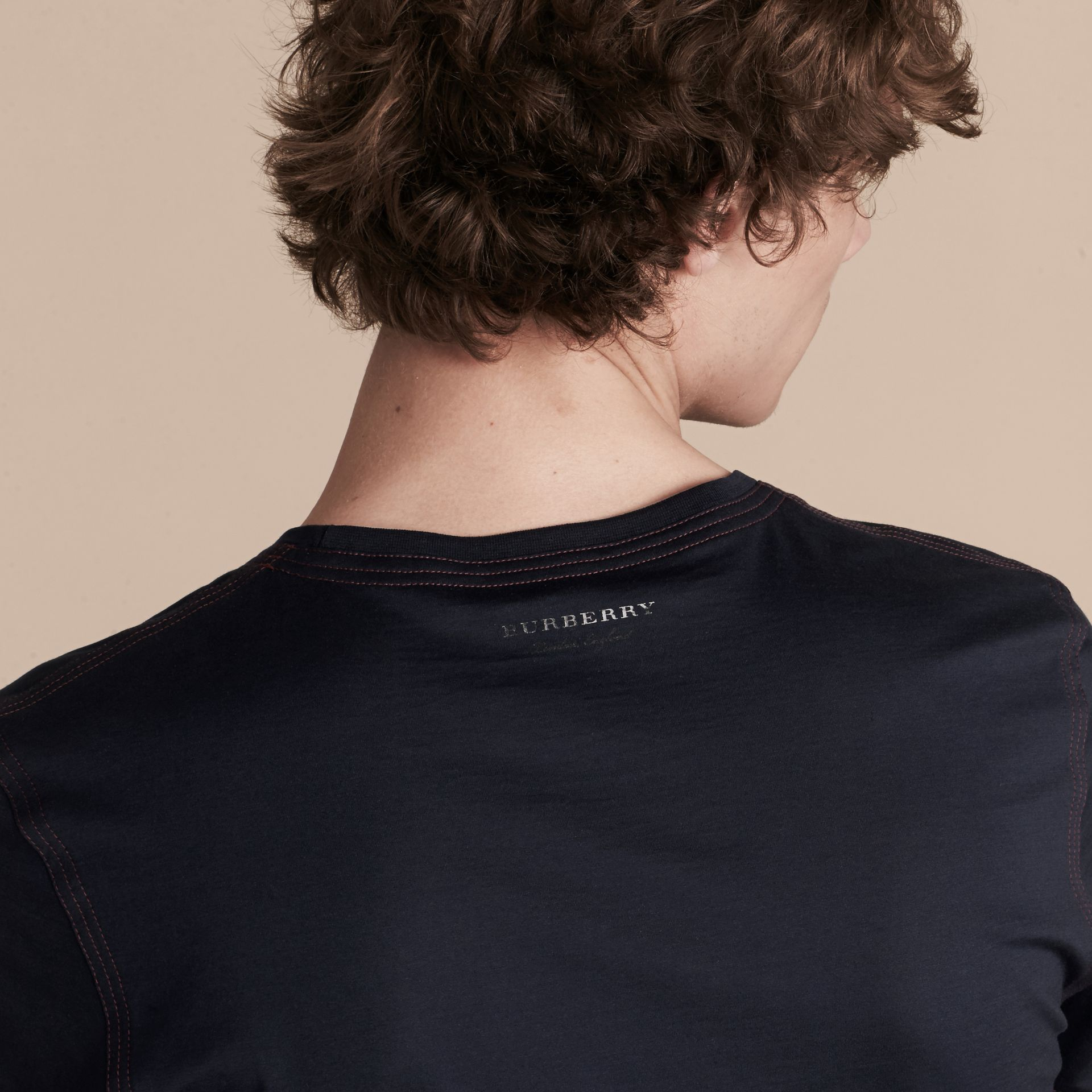 Navy Topstitch Detail Cotton T-shirt Navy - gallery image 5