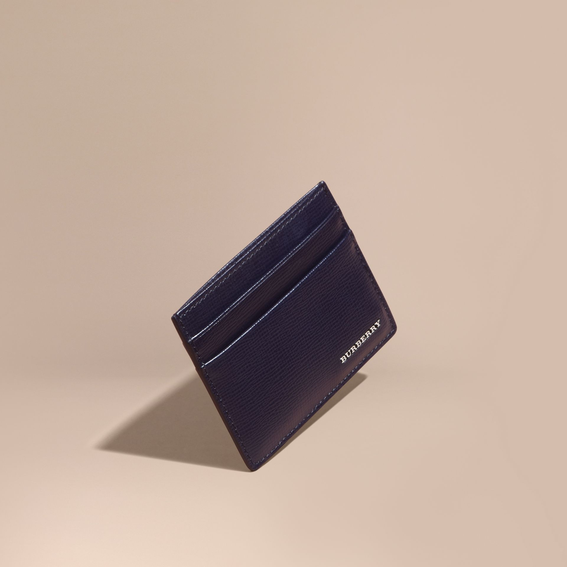 London Leather Card Case in Dark Navy - Men | Burberry - gallery image 1