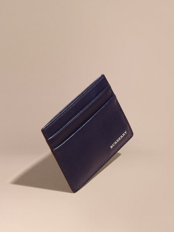 London Leather Card Case in Dark Navy - Men | Burberry
