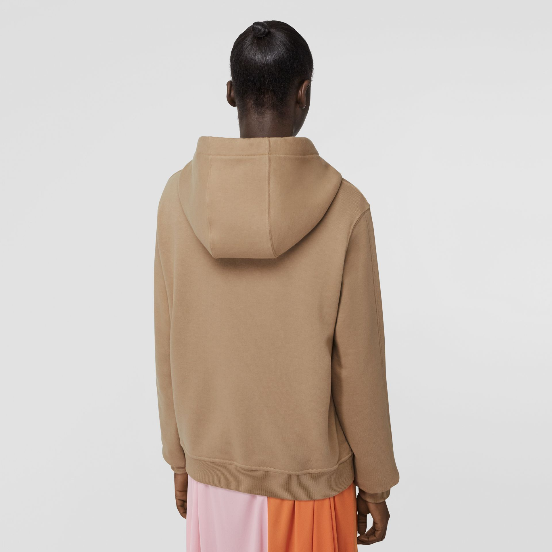 Embroidered Logo Cotton Oversized Hoodie in Archive Beige - Women | Burberry - gallery image 2