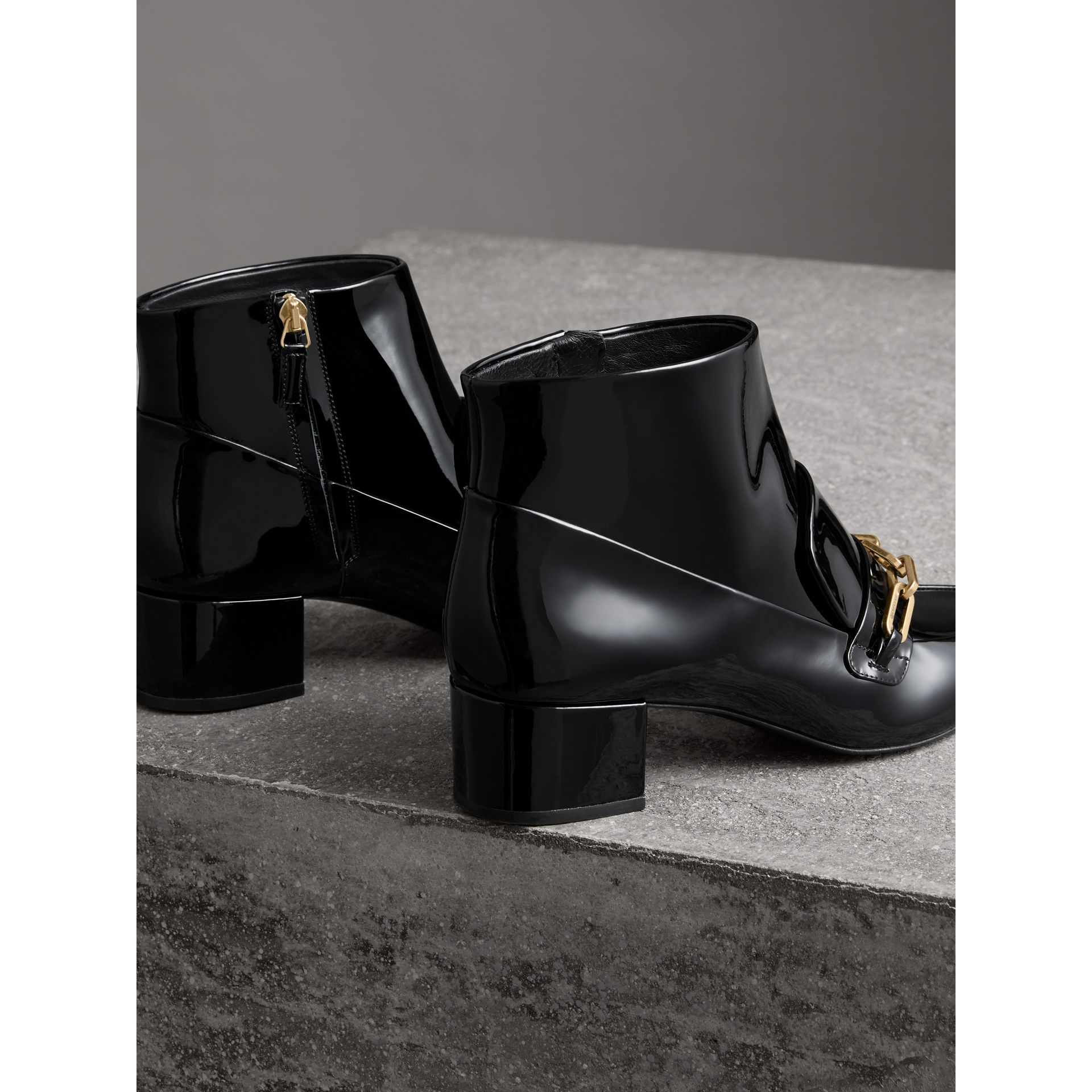 Link Detail Patent Leather Ankle Boots in Black - Women | Burberry - gallery image 3
