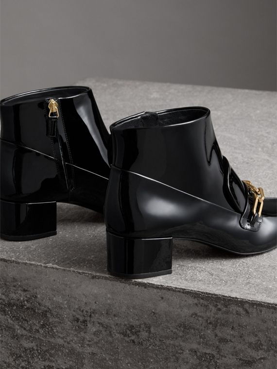 Link Detail Patent Leather Ankle Boots in Black - Women | Burberry - cell image 3