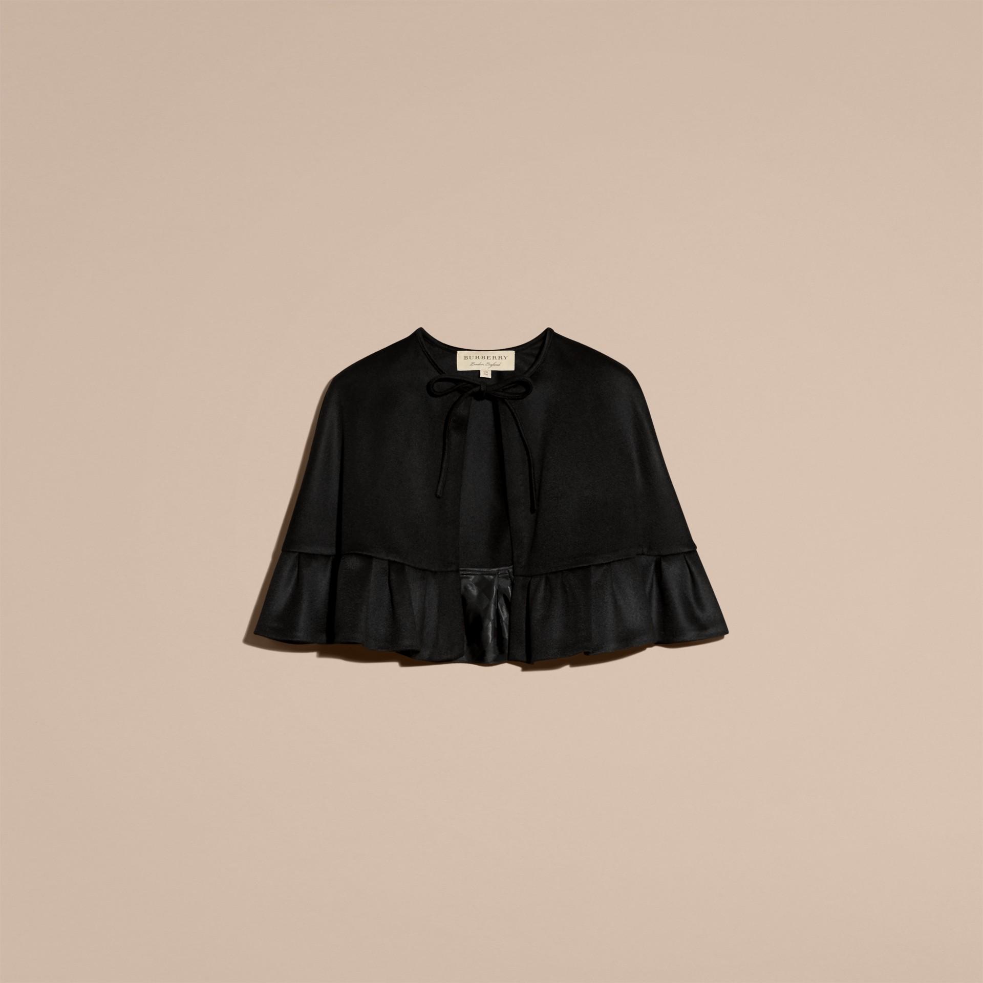 Ruffle Hem Cashmere Cape in Black - gallery image 4