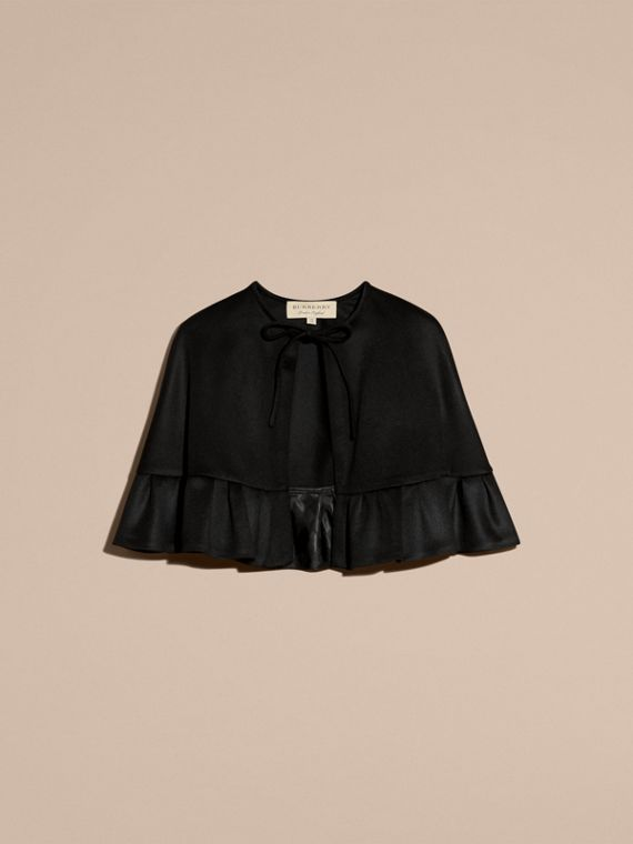 Ruffle Hem Cashmere Cape in Black - cell image 3