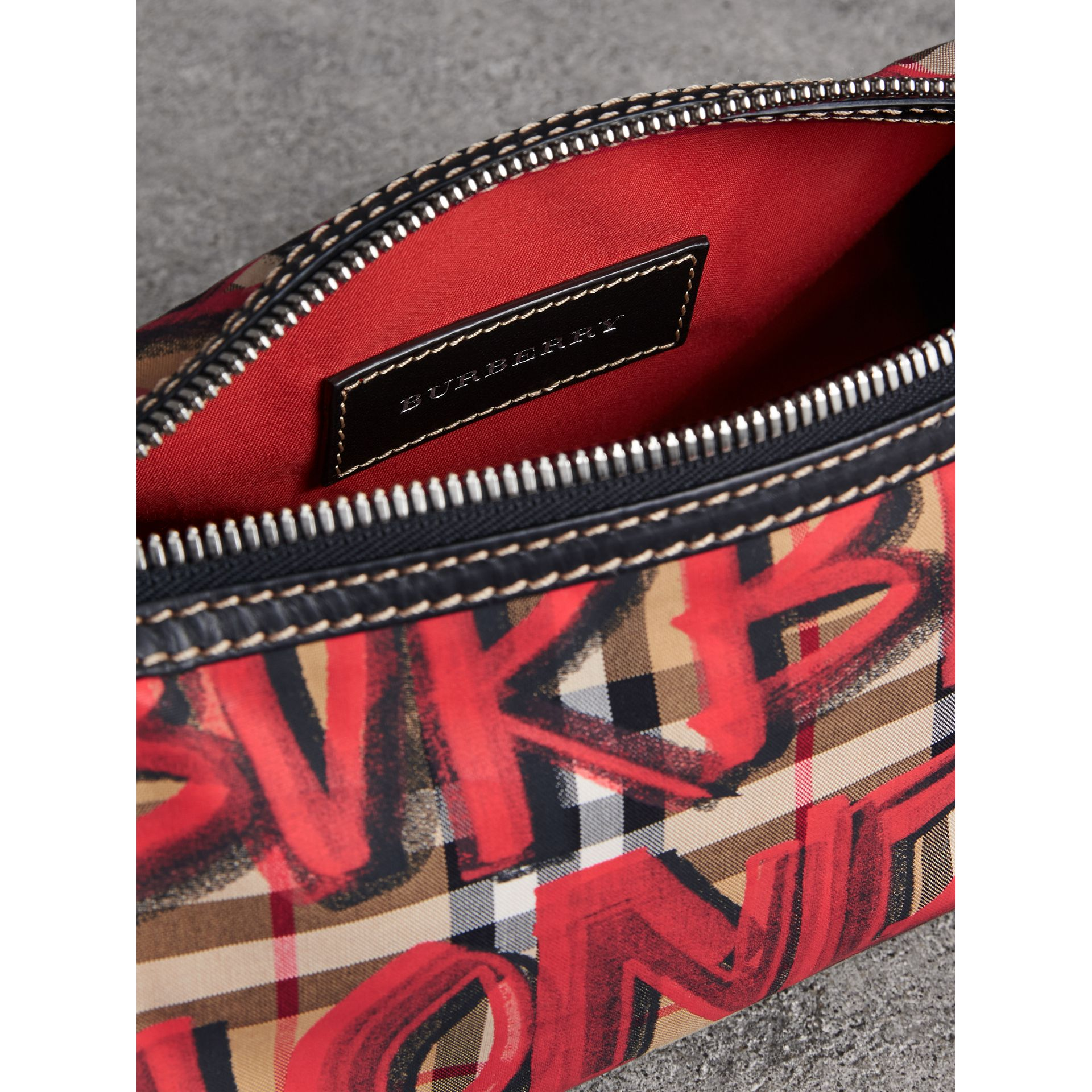 The Small Graffiti Print Vintage Check Barrel Bag in Black - Women | Burberry - gallery image 5
