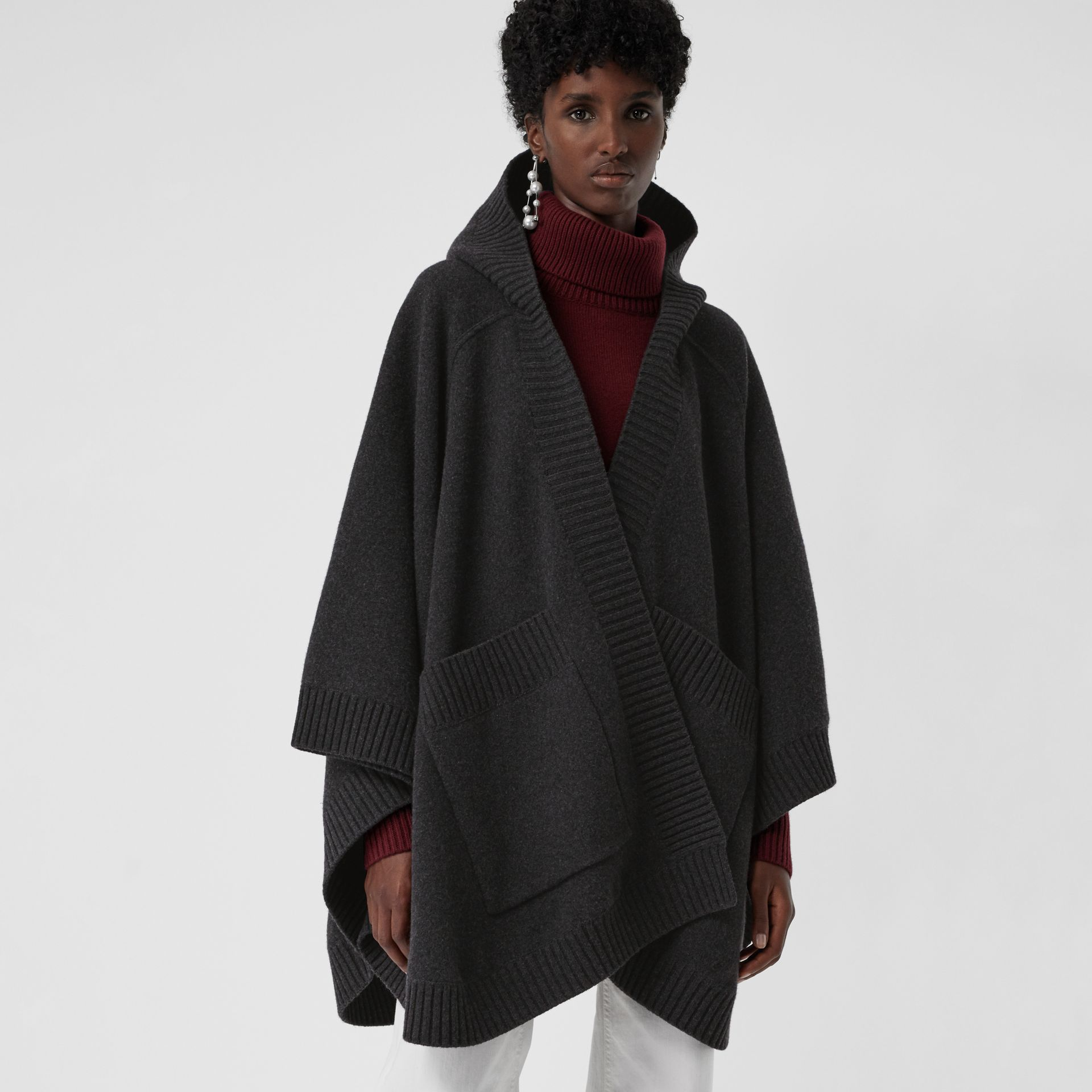 Crest Wool Blend Jacquard Hooded Cape in Charcoal - Women | Burberry - gallery image 2