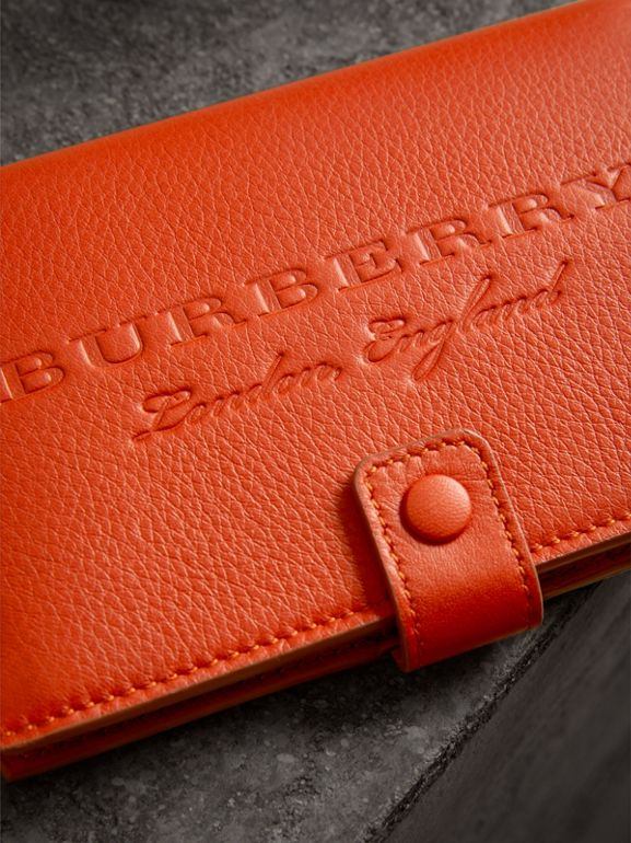 Embossed Grainy Leather Folding Wallet in Dark Clementine | Burberry - cell image 1