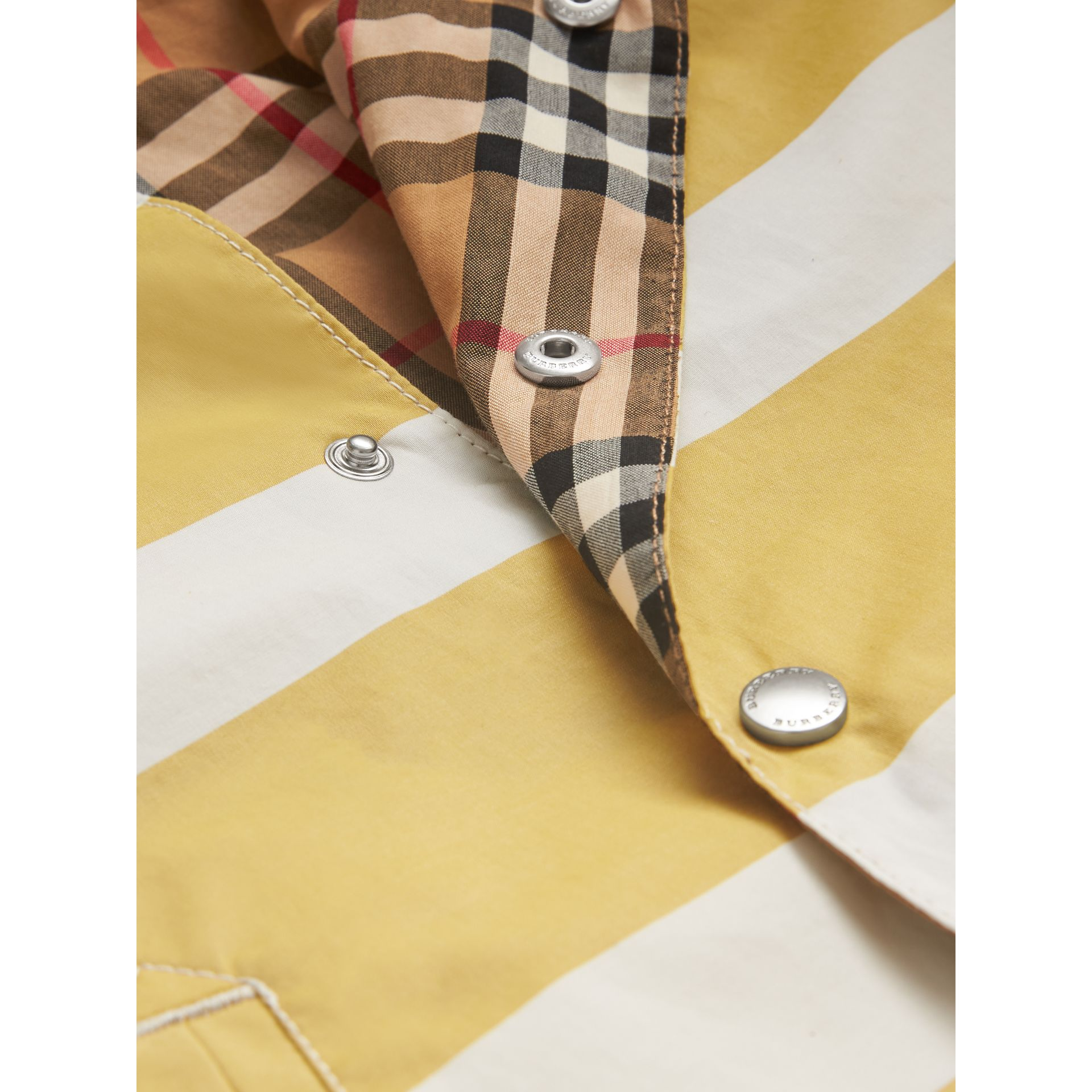 Reversible Stripe and Vintage Check Cotton Jacket in Larch Yellow/whte | Burberry - gallery image 1