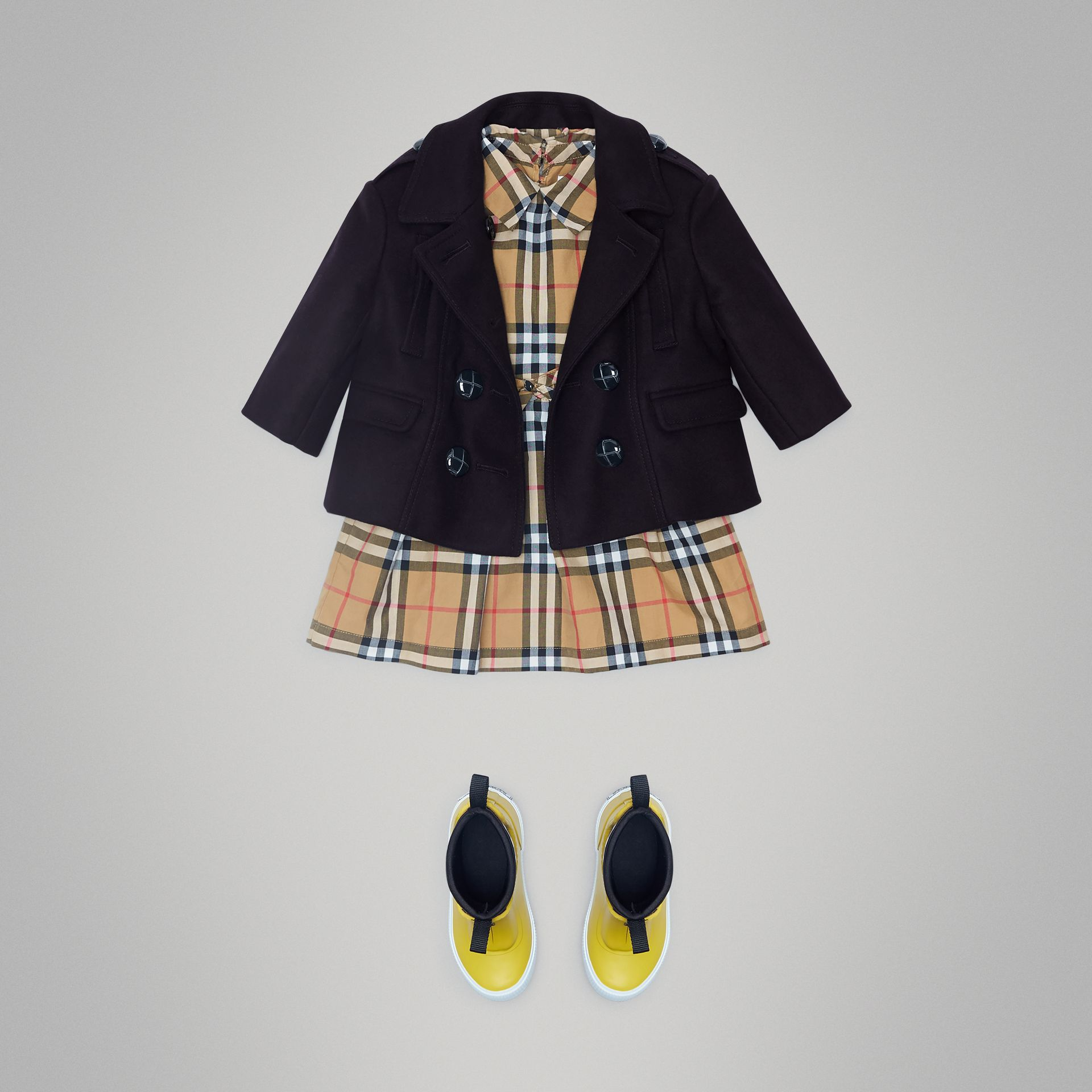 Wool Pea Coat in Navy - Children | Burberry Singapore - gallery image 2