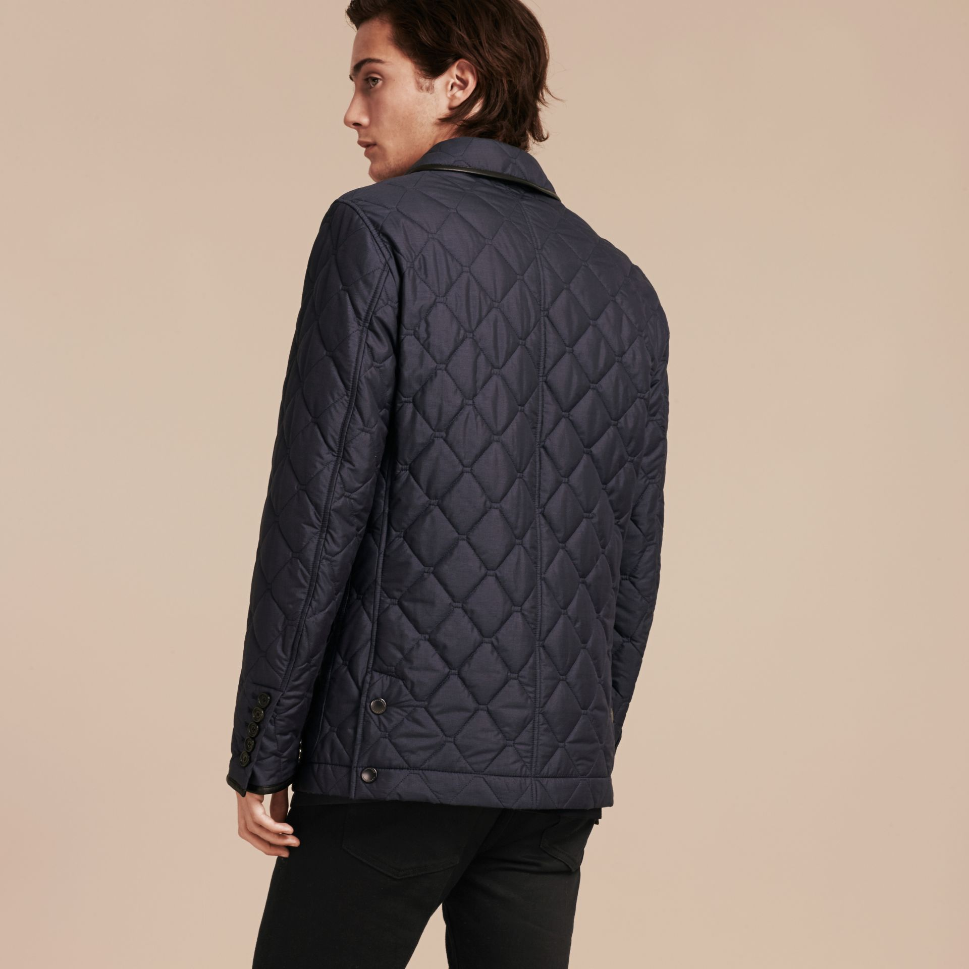 Bright steel blue Lightweight Quilted Jacket with Leather Trim - gallery image 3