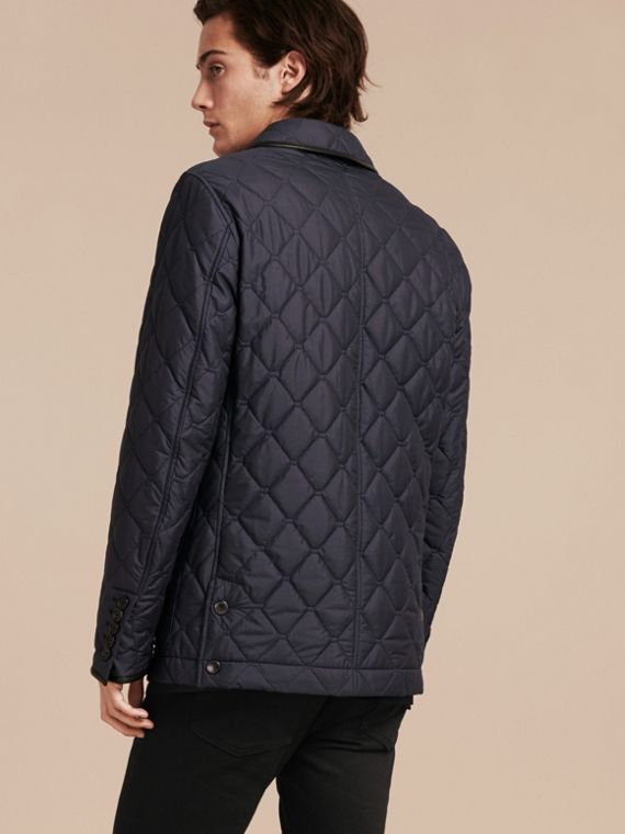 Bright steel blue Lightweight Quilted Jacket with Leather Trim - cell image 2