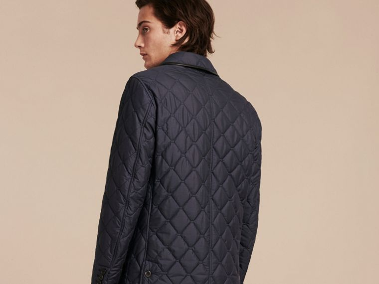 Bright steel blue Lightweight Quilted Jacket with Leather Trim - cell image 1