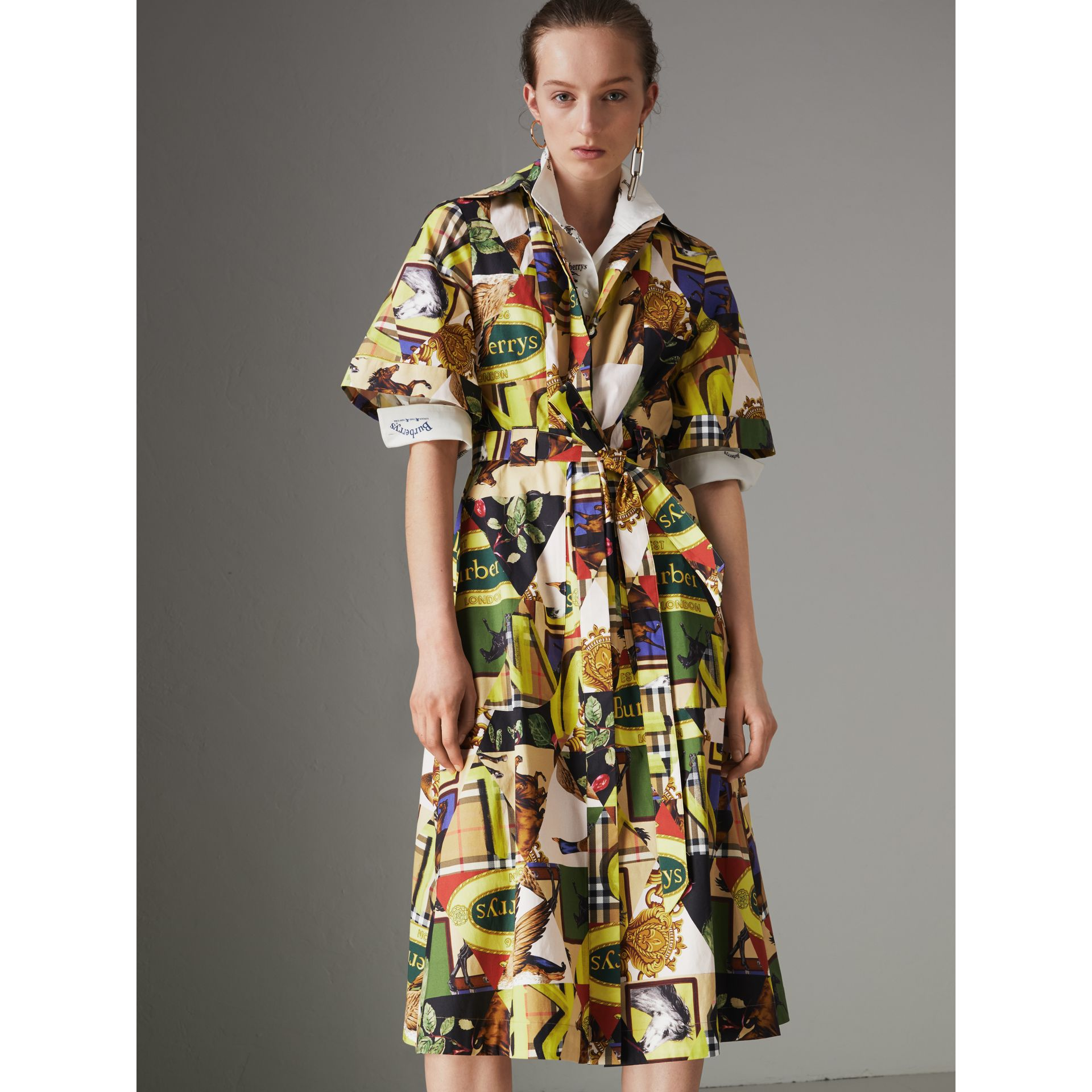 Graffitied Archive Scarf Print Shirt Dress in Bright Yellow - Women | Burberry - gallery image 5