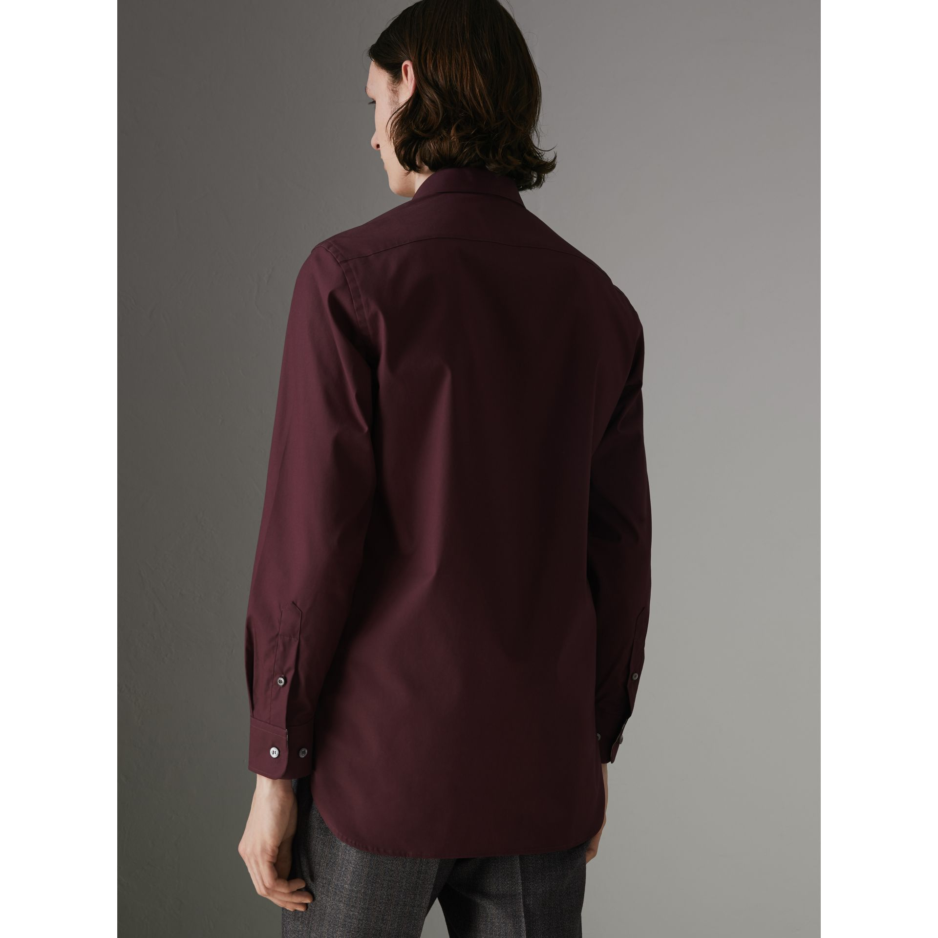 Check Cuff Stretch Cotton Poplin Shirt in Oxblood - Men | Burberry - gallery image 2