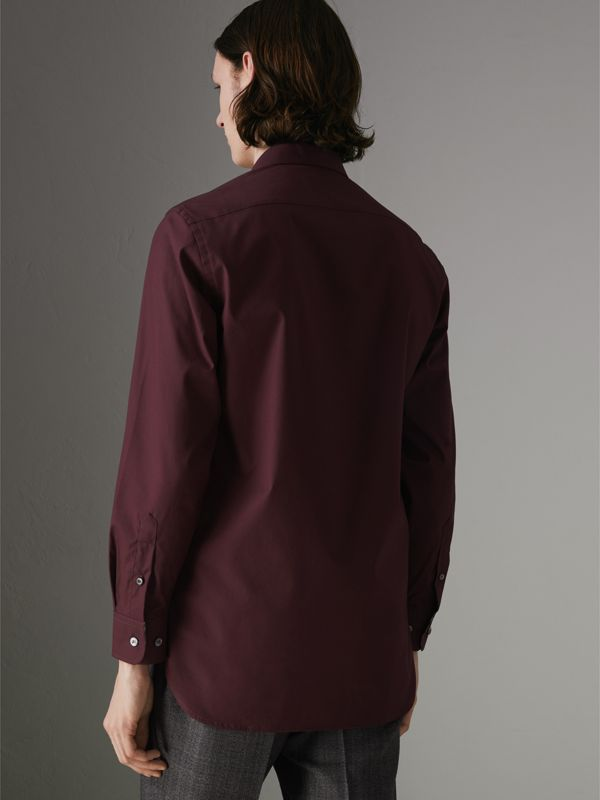 Check Cuff Stretch Cotton Poplin Shirt in Oxblood - Men | Burberry Singapore - cell image 2