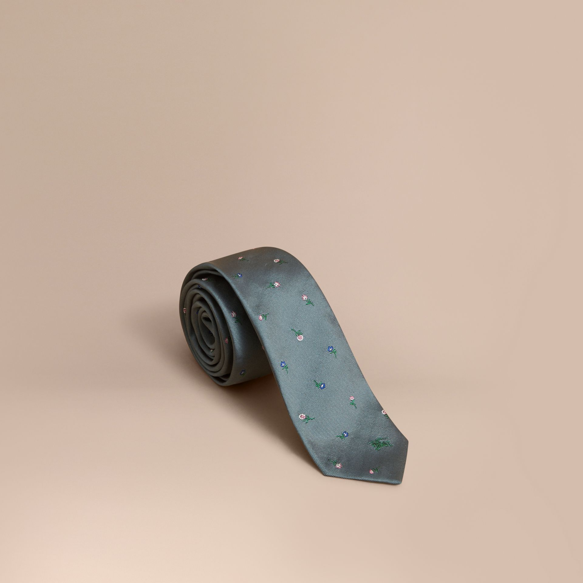 Slim Cut Floral Silk Jacquard Tie in Dusty Teal - Men | Burberry - gallery image 1
