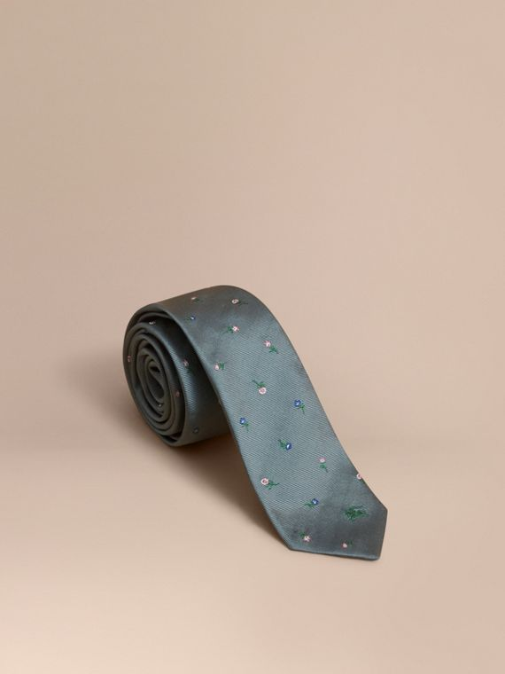 Slim Cut Floral Silk Jacquard Tie Dusty Teal