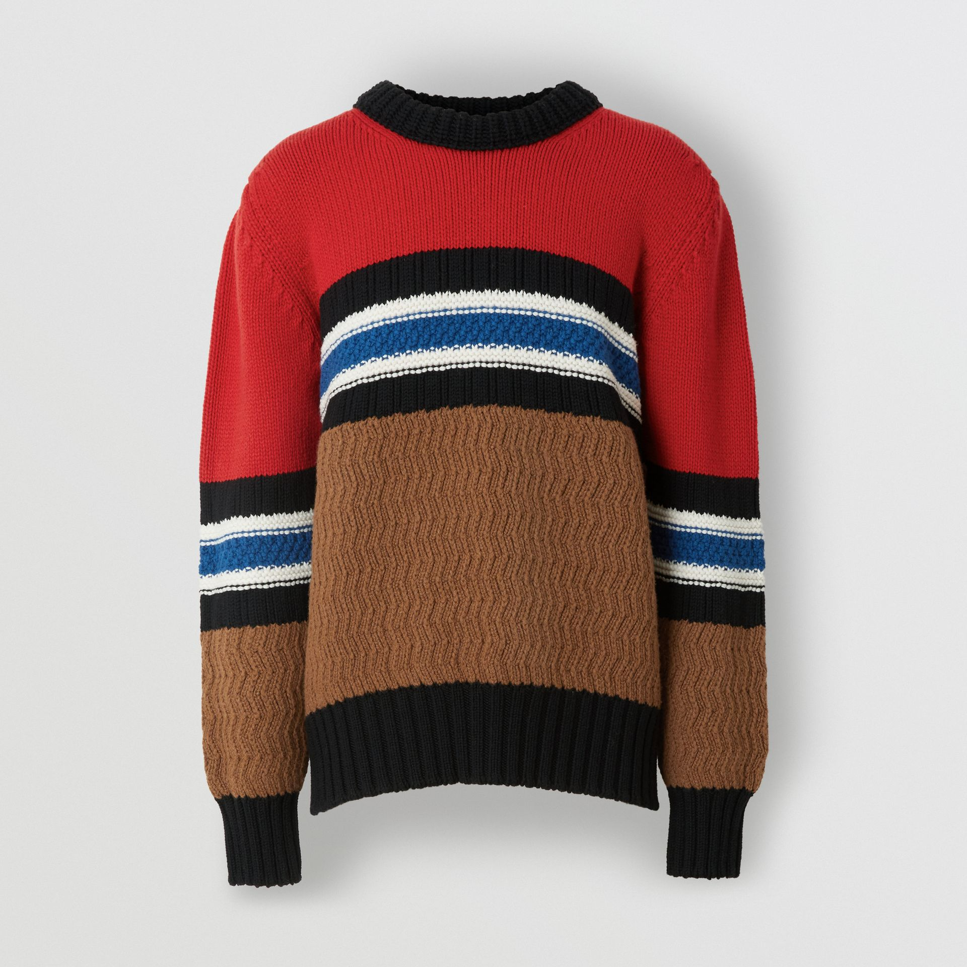 Striped Wool Cashmere Sweater in Bright Red - Men | Burberry Australia - gallery image 3