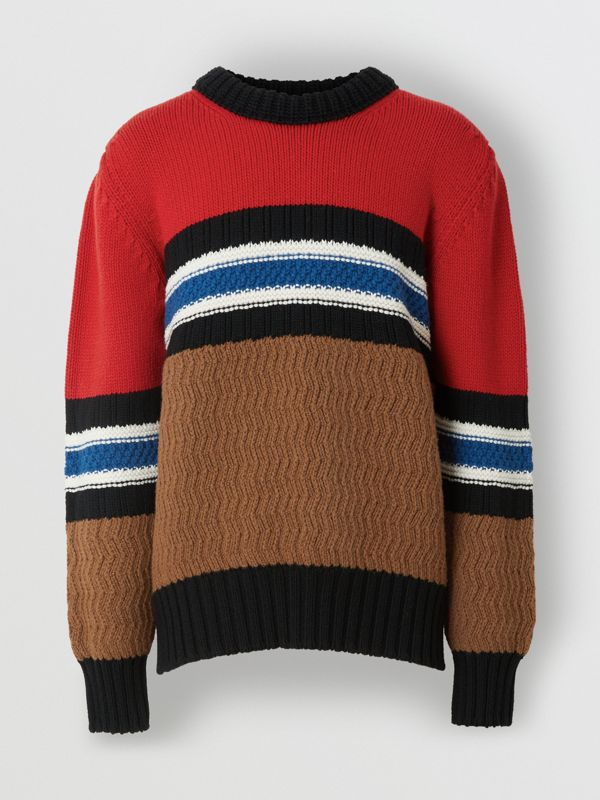 Striped Wool Cashmere Sweater in Bright Red - Men | Burberry Australia - cell image 3