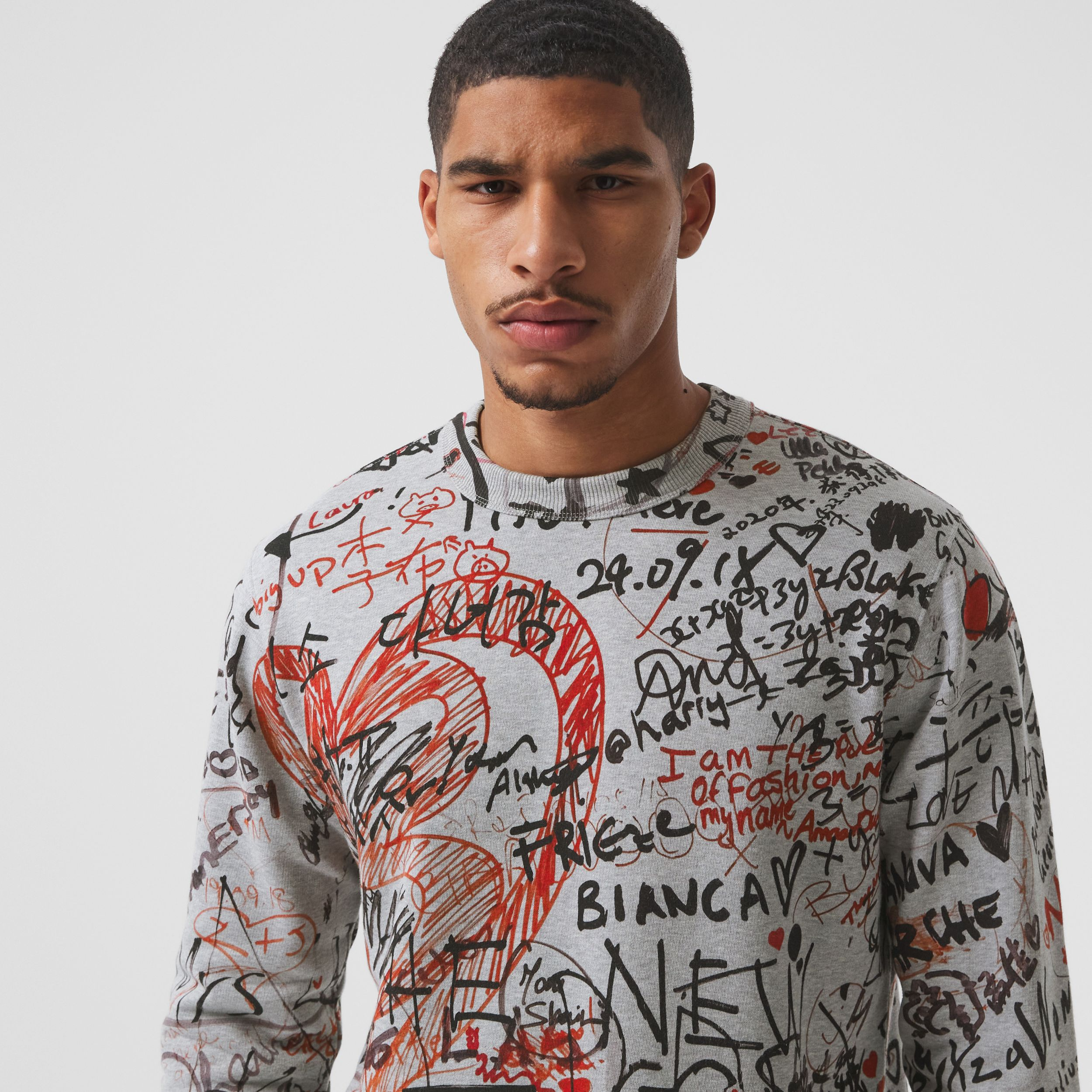 Graffiti Print Cotton Sweatshirt in Pale Grey Melange - Men | Burberry Australia - 2