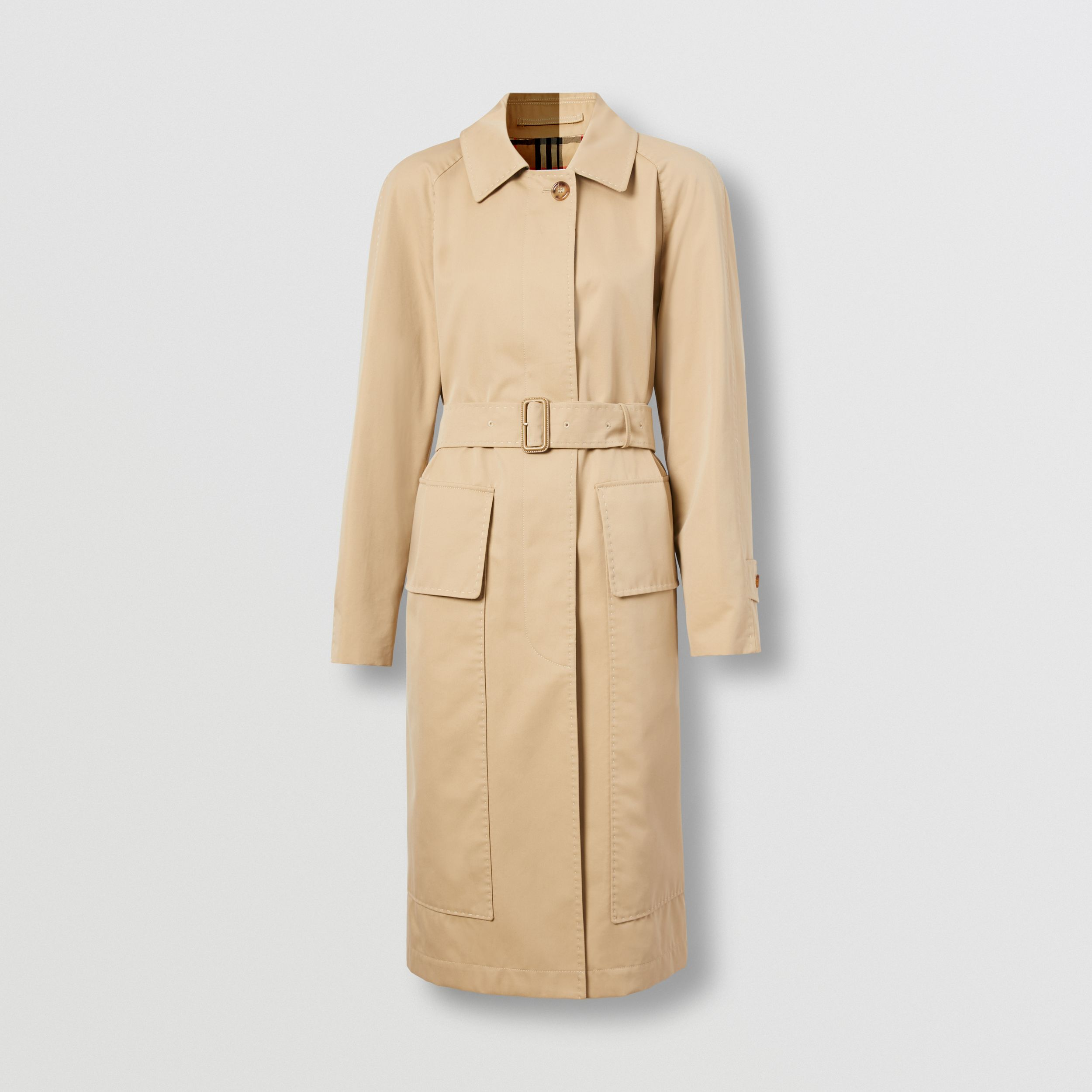 Cotton Gabardine Belted Car Coat in Honey - Women | Burberry - 4