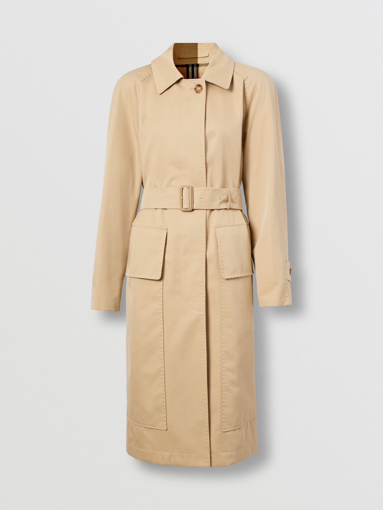 Cotton Gabardine Belted Car Coat in Honey