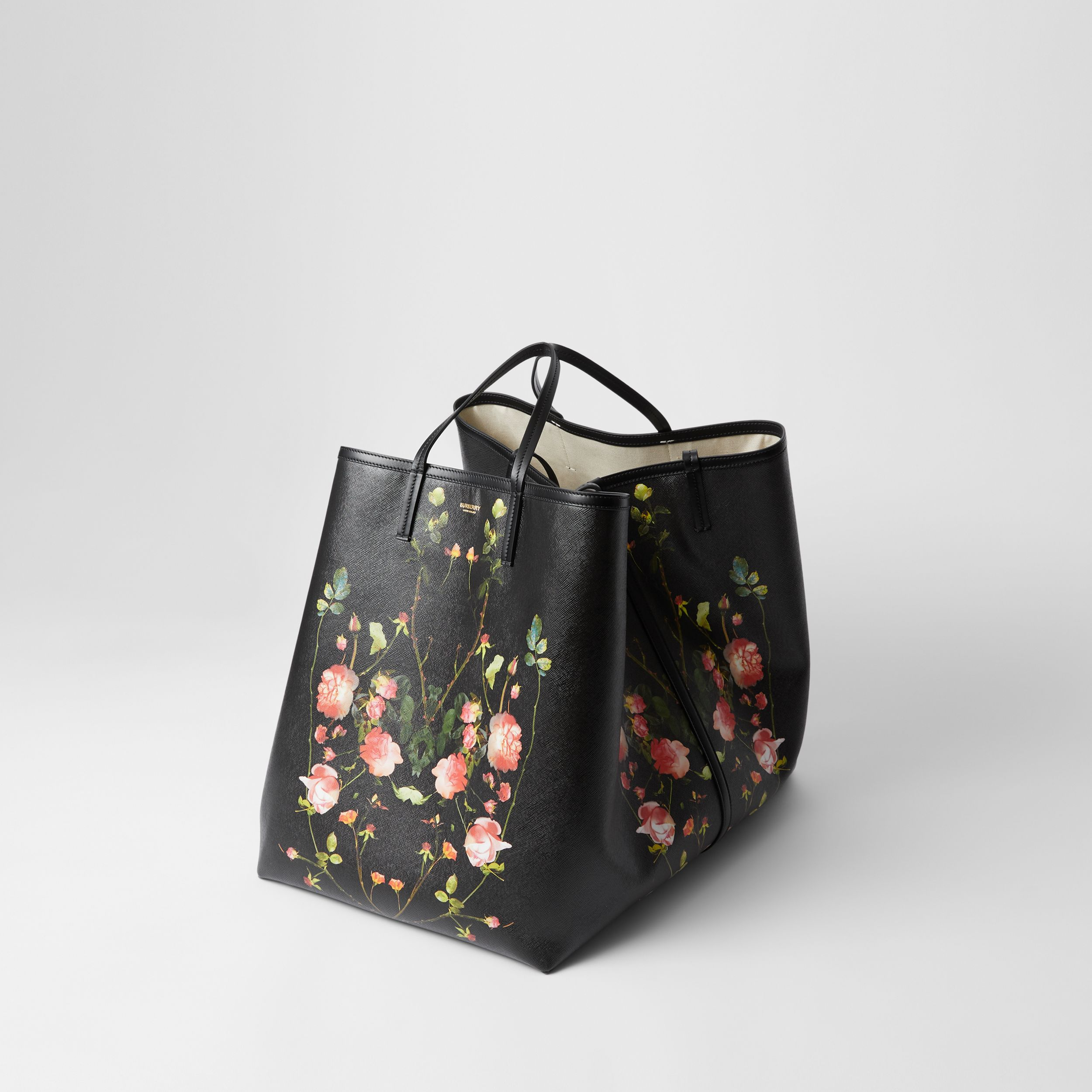 Extra Large Rose Print E-canvas Beach Tote in Black - Women | Burberry Hong Kong S.A.R. - 4