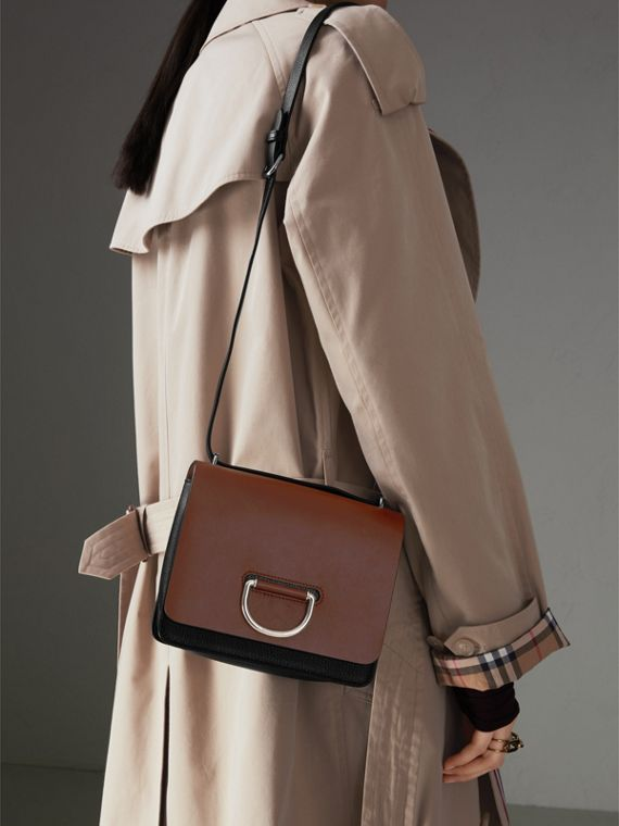 The Small Leather D-ring Bag in Tan/black - Women | Burberry - cell image 3