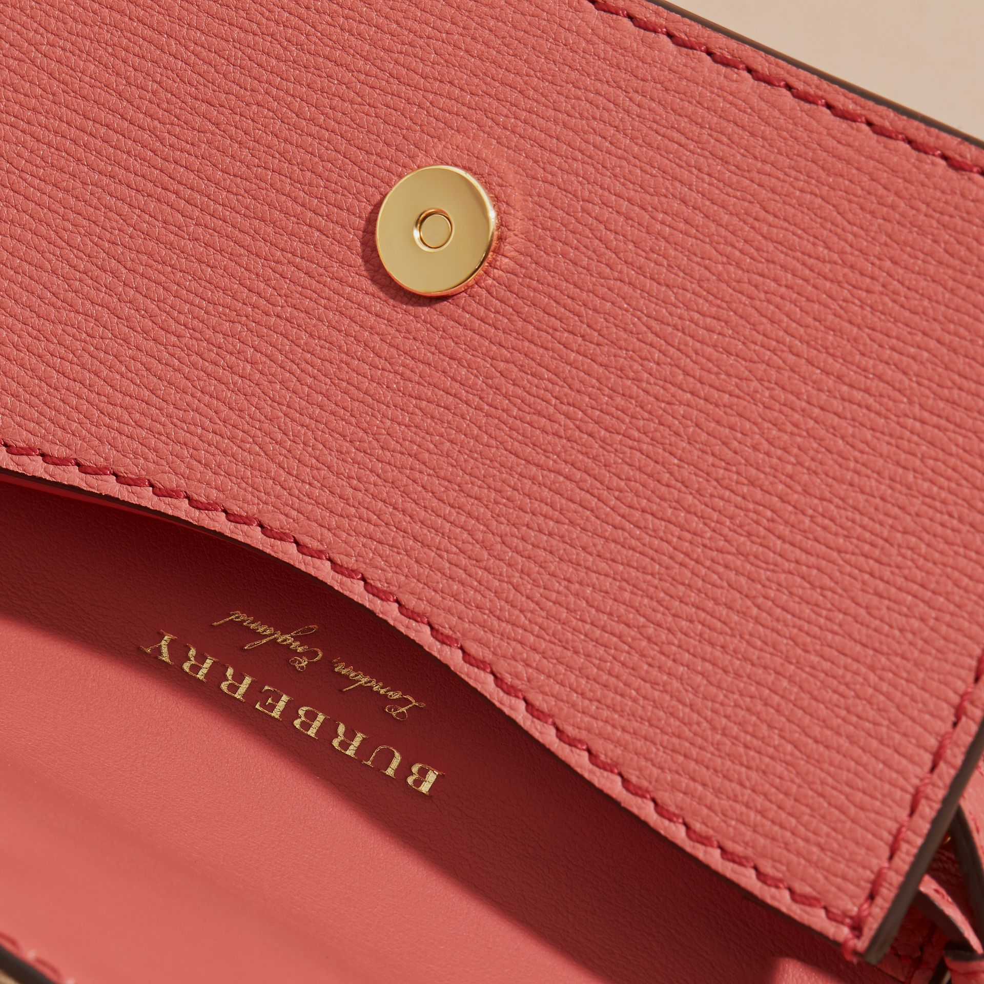 The Mini Buckle Bag in Leather and House Check in Rose Pink - Women | Burberry - gallery image 5